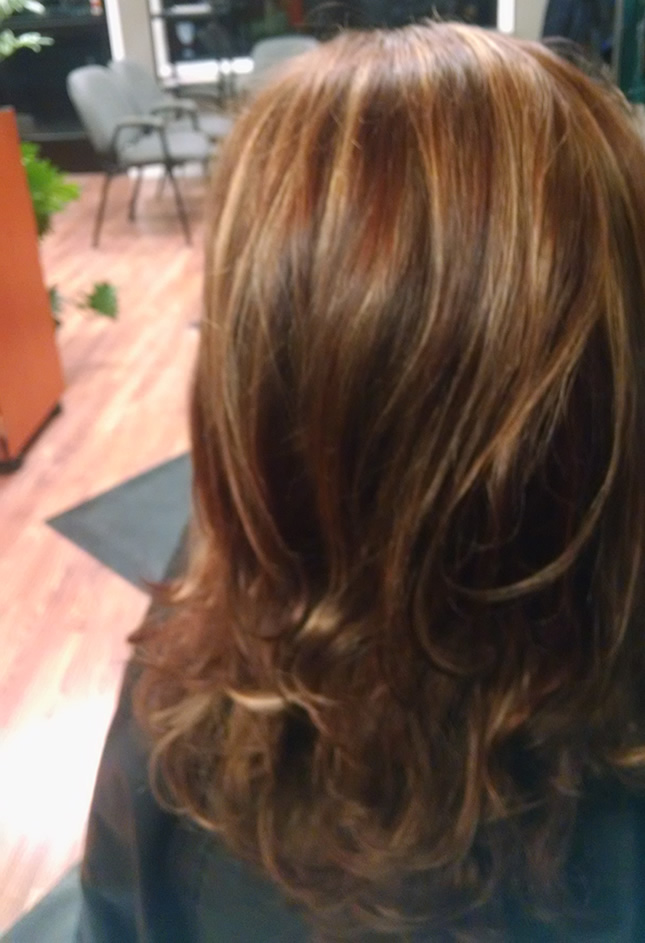 Long Brown Hair With Blond And Red Highlights Clover Salon